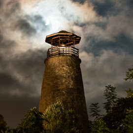 Shine on by Michael Wolfe - Buildings & Architecture Public & Historical ( clouds, tower, lighthouse, cloudscape, night shot, moonlight, nightscape )