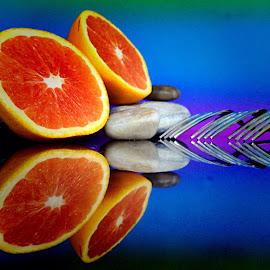 Forks and cut orange by Janette Ho - Artistic Objects Still Life ( blue, orange. color,  )