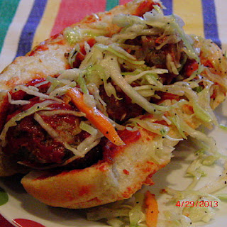 Sweet and Tangy Meatball Hoagies with Poppy Seed Cole Slaw
