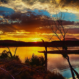 Off The Lake by Dewey Farmer - Landscapes Sunsets & Sunrises ( clouds, water, orange, reflection, lake, travel, people, sky, vacation, bushes, blue, utah, sunset, trees, fishing, reflective, reflect )