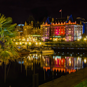 Fairmont Empress hotel by Doug Clement - Buildings & Architecture Public & Historical ( palm, tree, olors, empress, nightscape, fairmont, city at night, street at night, park at night, nightlife, night life, nighttime in the city )