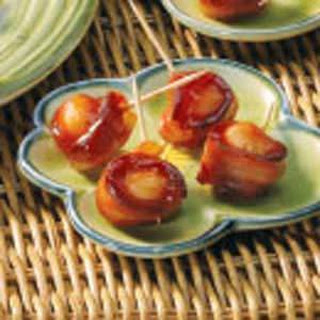 Bacon-Wrapped Water Chestnuts (peach baby food)