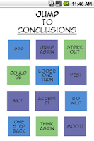 Screenshot of Jump to Conclusions App