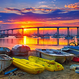 Dinghy Beach by Jason Johnson - Transportation Boats ( san diego, hdr, sunrise, bridge, dinghy )