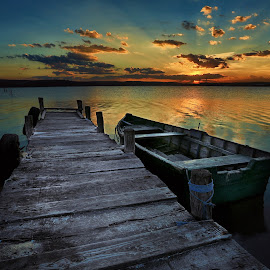 Sunset over Kazashko by Dimitar Novkov - Landscapes Sunsets & Sunrises ( sunset, boat )