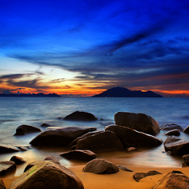 Blues after sunset by Dany Fachry - Landscapes Beaches ( beaches, blue hour, clouds and sea, long exposure, seascape, landscapes, rocks )