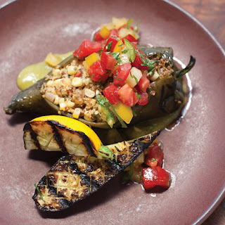 Stuffed Poblano Chile Peppers with Corn, Quinoa & Goat Cheese