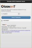 Screenshot of KnowEm USPTO Trademark Search