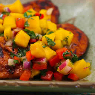 Grilled Lime and Chile Chicken with Mango and Red Bell Pepper Salsa