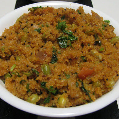 Uppama- Farina Pilaf with Dal and Vegetables