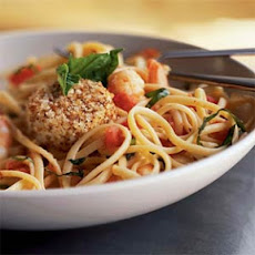 Shrimp, Tomato, and Basil Linguine with Warm Goat Cheese Rounds