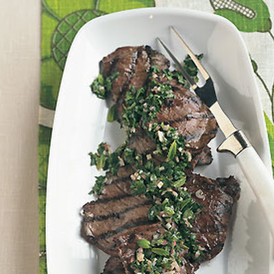 Grilled Steak with Fresh Garden Herbs