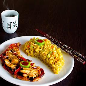 Yin by Bogdan Rusu - Food & Drink Plated Food ( rice, food, plated food, tea, smoke )