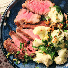 Make-Ahead Steak with Hazelnut Gremolata and Cauliflower