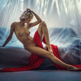 Chucha  by Dmitry Laudin - Nudes & Boudoir Artistic Nude ( studio, girl, nude, red )