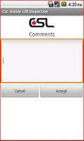 Screenshot of CSL ScissorLift Inspection App