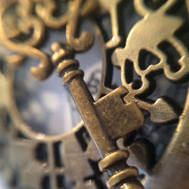 by Tinky Lou - Novices Only Macro ( time, pocket watch, vintage, olloclip, macro photography, brass, iphone, key )