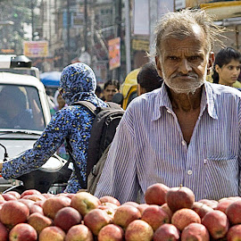 Sour Apples by John Hoey - People Street & Candids ( sour, aj photographic art, asia, bitter, apples, india, old man, travel, food cart,  )