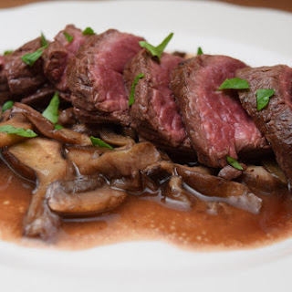 Hanger Steak in a Red Wine Reduction with Mushrooms