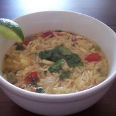 Mean Chef's Yucatan-Style Chicken, Lime, and Orzo Soup