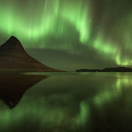 Dance of The Spirits by José Ramos - Landscapes Weather ( kirkjufell, iceland, starts, northern lights, aurora borealis, long exposure, skyscape )