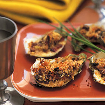 Baked Oysters with Bacon and Leeks