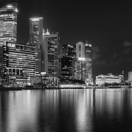 City Lights by Colin Dixon - City,  Street & Park  Skylines ( lights, night, mono, waterfront, singapore, city )