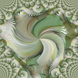 FWL 2 by Tina Dare - Digital Art Abstract ( abstract, greens, patterns, designs, manipulated, distorted, spiral, fractal, shapes )