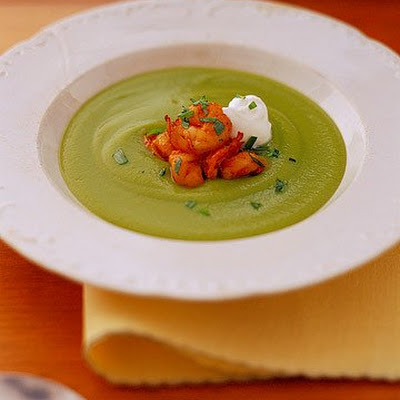 Pea Bisque with Shrimp and Tarragon