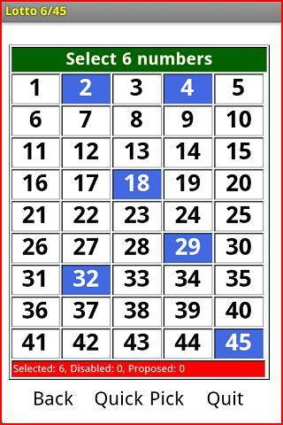 Lottery 6 45