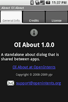 Screenshot of OI About