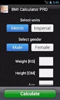 Screenshot of BMI Calculator PRO