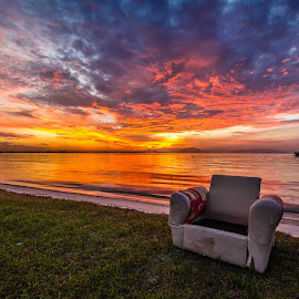 D A W N by Patrick Loo - Landscapes Sunsets & Sunrises ( chair, dawn, chairs, sunrise, landscapes, landscape, Chair, Chairs, Sitting )