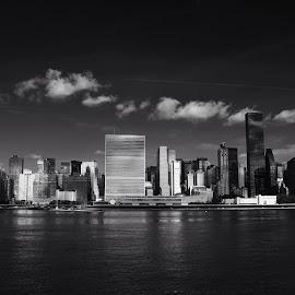 le Monde by Katsuhiro Kaneko - City,  Street & Park  Skylines ( trump world tower, skyline, monochrome, black and white, low key, empire state building, manhattan, nyc, new york, ny, un, city, turtle bay, east river, new york city, united nations, midtown east, Urban, City, Lifestyle,  )