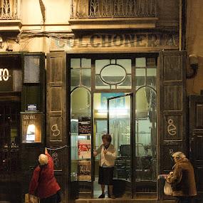 Barcelona, Born, Night, Street,Old, Shop,Elder by Joan Vega - City,  Street & Park  Street Scenes ( born, street, night, barcelona )