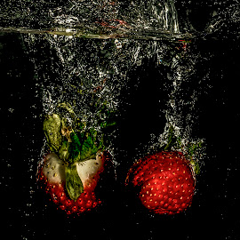 Strawberries by John Myrianthousis - Abstract Water Drops & Splashes