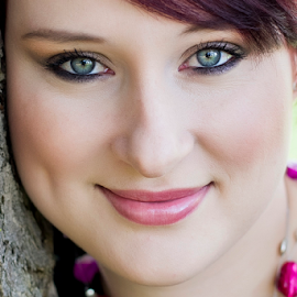 Portrait by Wendy Van Zyl - People Portraits of Women ( natural light, dimples, red hair, gaze, smiling, natural beauty, blue and green eyes )