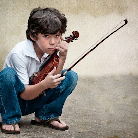 Not In The Mood by Sharon Isern - Babies & Children Child Portraits ( violin, boy )