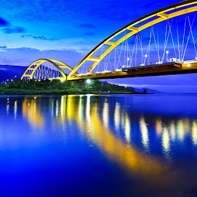 Bridge of PALU by Andrial Kusuma - Buildings & Architecture Bridges & Suspended Structures ( water, blue, liight, yellow, bridge )