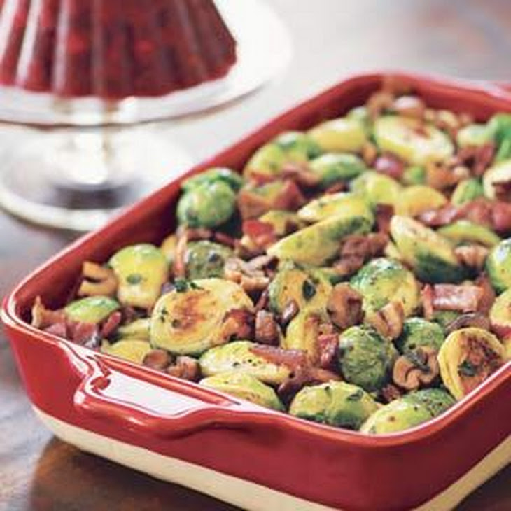 Roasted Brussels Sprouts with Bacon and Chestnuts Recipe | Yummly