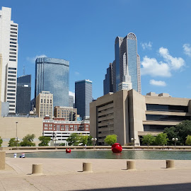 Dallas Skyline from City Hall Plaza by Michael McMurray - Instagram & Mobile Android ( city hall, skyline, skyscraper, high rise, dallas, fountain, library, i.m. pei, plaza )