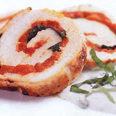 Grilled Pepper, Basil, and Turkey Roulade with Basil Sour Cream Sauce