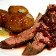 Grilled Flank Steak with Shallot and Red Wine Sauce with Cracked Potatoes