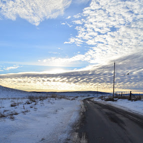 Stretched Road by Selah Madland - Transportation Roads ( sky, winter, cold, road, long )