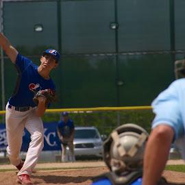 Fastball by Jason Gajan - Sports & Fitness Baseball ( catcher, curve ball, umpire, fast ball, baseball, highschool baseball, pitcher, pitcher release, batter )