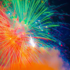 Quad Colour by Cory Bohnenkamp - Abstract Fire & Fireworks ( colour, abstract, quad, coloured, fireworks, night )