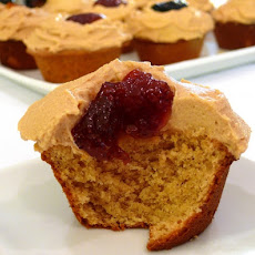 Peanut Butter Cupcakes with Peanut Butter Frosting and Jelly