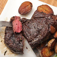 Butter-Basted Bison Ribeye Steak with Crispy Potatoes
