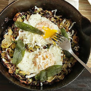 Brussels Sprouts Hash with Fried Sage and Soft Cooked Eggs