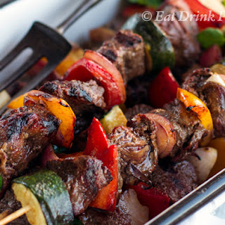 Kangaroo Skewers With Vegetables And Red Wine Marinade